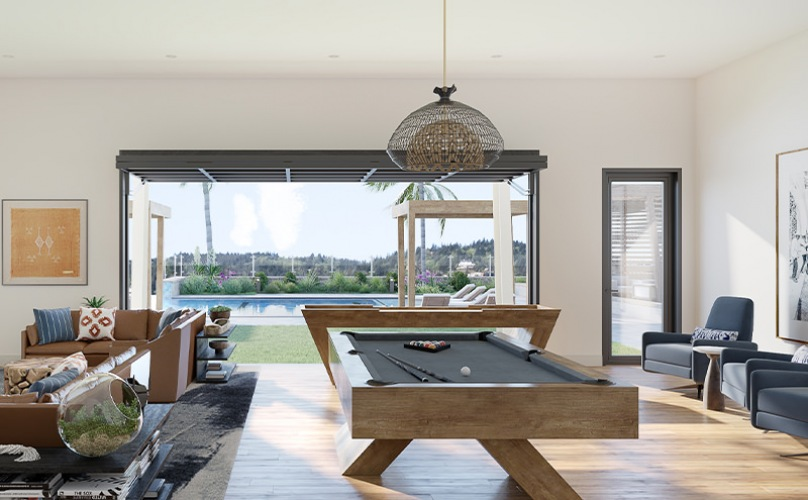 Large well lit clubhouse with ample seating and a billiard table