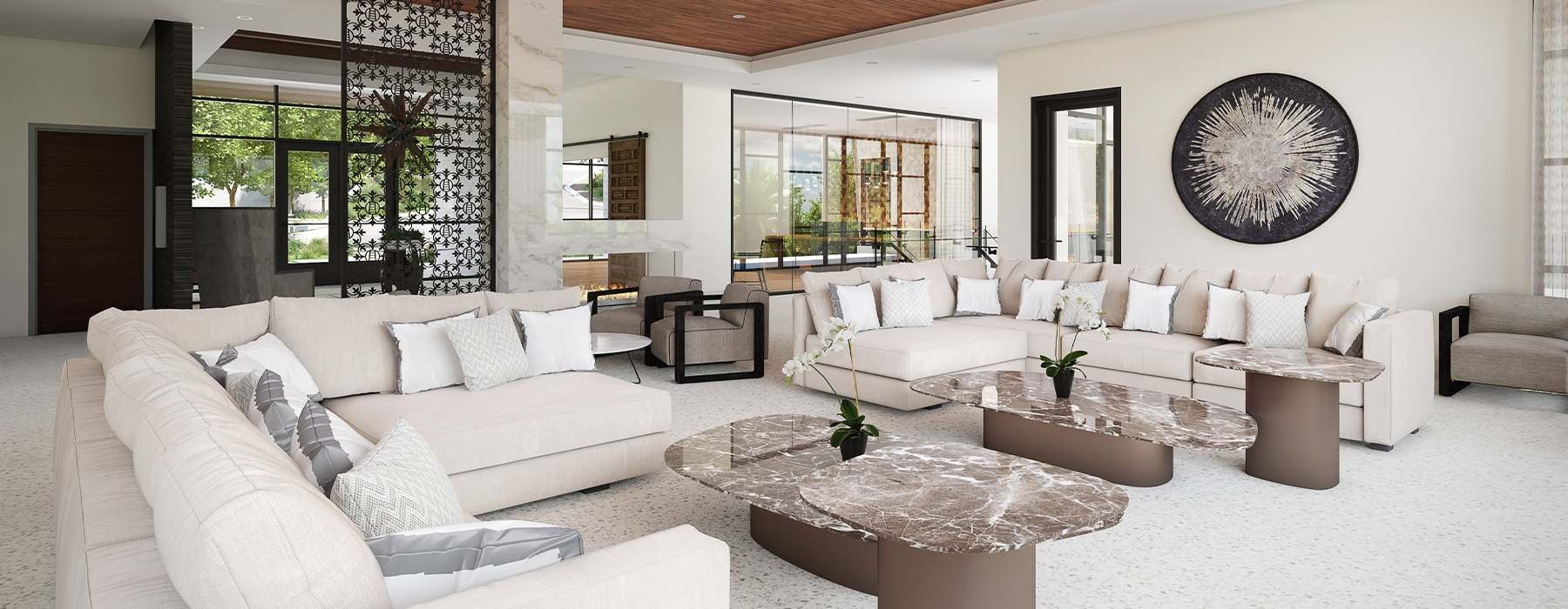 Spacious and well lit clubhouse with an open floor plan